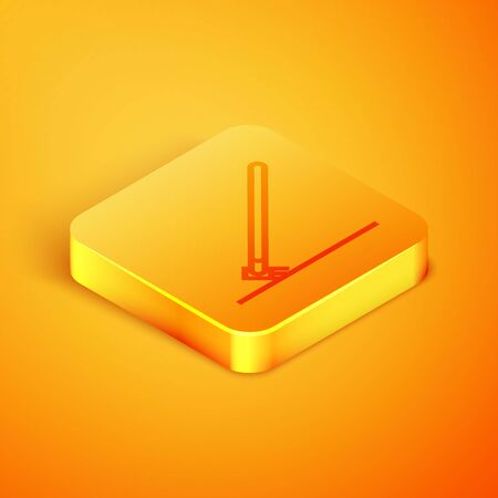 Isometric line Garden rake in work icon isolated on orange background. Tool for horticulture, agriculture, farming. Ground cultivator. Orange square button. Vector Illustration Ilustração