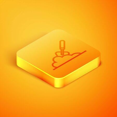 Isometric line Garden trowel spade or shovel in the ground icon isolated on orange background. Gardening tool. Tool for horticulture, agriculture, farming. Orange square button. Vector Illustration