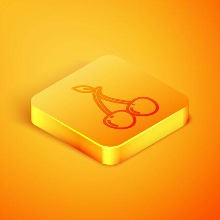 Isometric line Cherry icon isolated on orange background. Fruit with leaf symbol. Orange square button. Vector Illustration