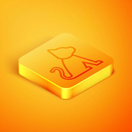 Isometric line Cat icon isolated on orange background. Orange square button. Vector Illustration Иллюстрация