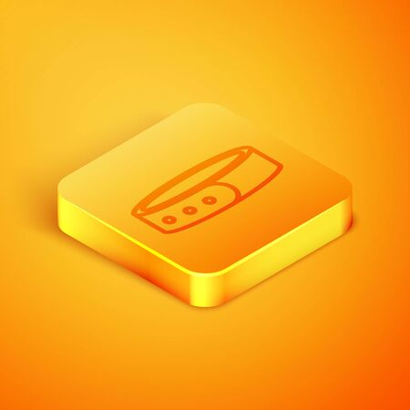 Isometric line Collar with name tag icon isolated on orange background. Simple supplies for domestic animal. Cat and dog care. Pet chains. Orange square button. Vector Illustration Фото со стока - 129760268
