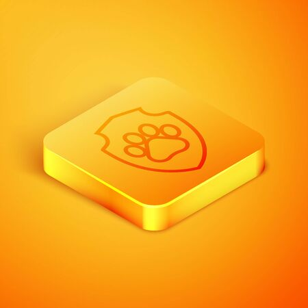 Isometric line Animal health insurance icon isolated on orange background. Pet protection icon. Dog or cat paw print. Orange square button. Vector Illustration Illustration