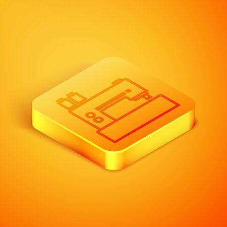 Isometric line Sewing machine icon isolated on orange background. Orange square button. Vector Illustration