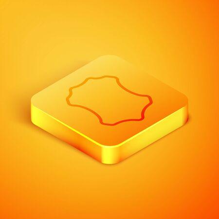 Isometric line Leather icon isolated on orange background. Orange square button. Vector Illustration Иллюстрация