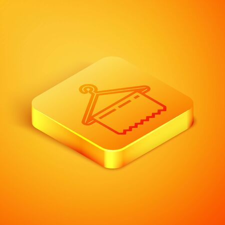 Isometric line Hanger wardrobe icon isolated on orange background. Clean towel sign. Cloakroom icon. Clothes service symbol. Laundry hanger sign. Orange square button. Vector Illustration