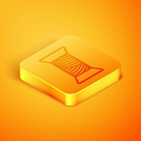Isometric line Sewing thread on spool icon isolated on orange background. Yarn spool. Thread bobbin. Orange square button. Vector Illustration