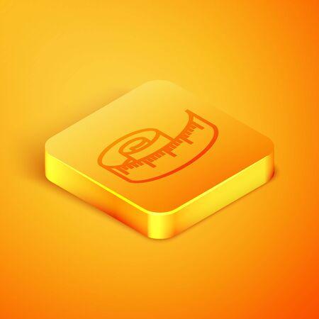 Isometric line Tape measure icon isolated on orange background. Measuring tape. Orange square button. Vector Illustration