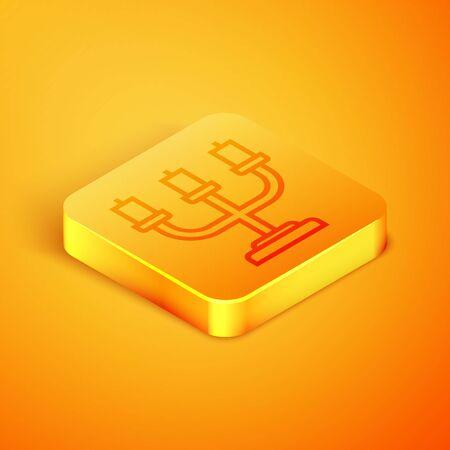 Isometric line Candlestick icon isolated on orange background. Orange square button. Vector Illustration