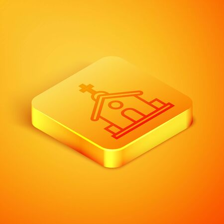 Isometric line Church building icon isolated on orange background. Christian Church. Religion of church. Orange square button. Vector Illustration