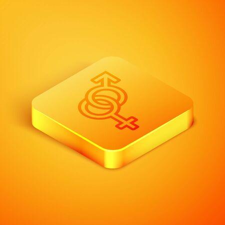Isometric line Gender icon isolated on orange background. Symbols of men and women. Sex symbol. Orange square button. Vector Illustration Stock Vector - 129769122