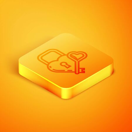 Isometric line Castle in the shape of a heart and key icon isolated on orange background. Locked Heart. Love symbol and keyhole sign. Orange square button. Vector Illustration
