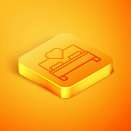 Isometric line Bedroom icon isolated on orange background. Wedding, love, marriage symbol. Bedroom creative icon from honeymoon collection. Orange square button. Vector Illustration 스톡 콘텐츠 - 129769132