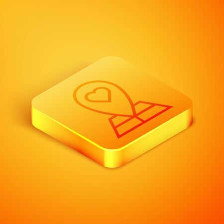 Isometric line Map pointer with heart icon isolated on orange background. Valentines day. Love location. Romantic map pin. Orange square button. Vector Illustration