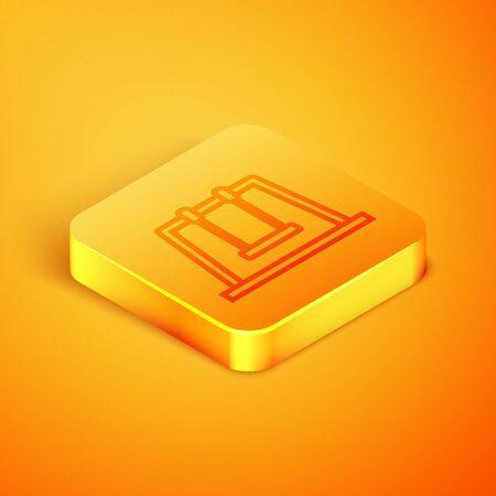 Isometric line Swing icon isolated on orange background. Playground symbol. Orange square button. Vector Illustration