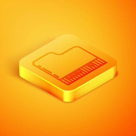 Isometric line Grand piano icon isolated on orange background. Musical instrument. Orange square button. Vector Illustration Иллюстрация