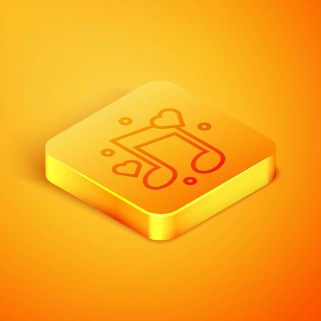Isometric line Music note, tone with hearts icon isolated on orange background. Orange square button. Vector Illustration