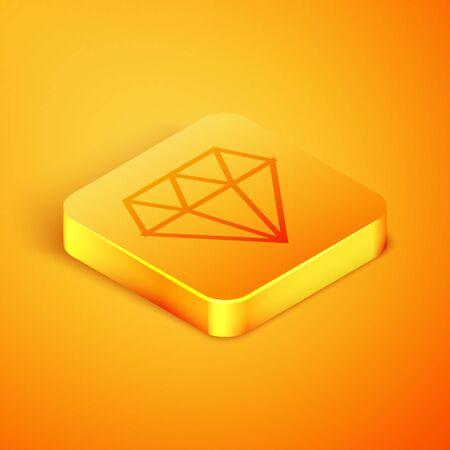 Isometric line Diamond icon isolated on orange background. Jewelry symbol. Gem stone. Orange square button. Vector Illustration