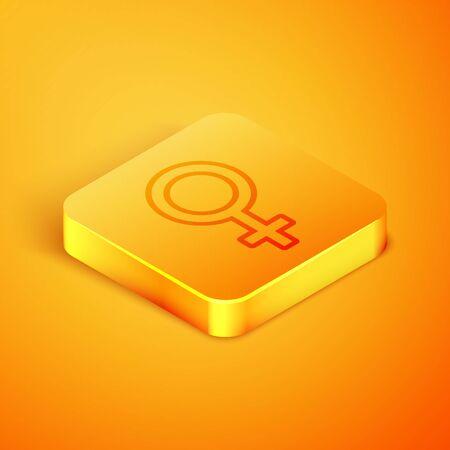 Isometric line Female gender symbol icon isolated on orange background. Venus symbol. The symbol for a female organism or woman. Orange square button. Vector Illustration