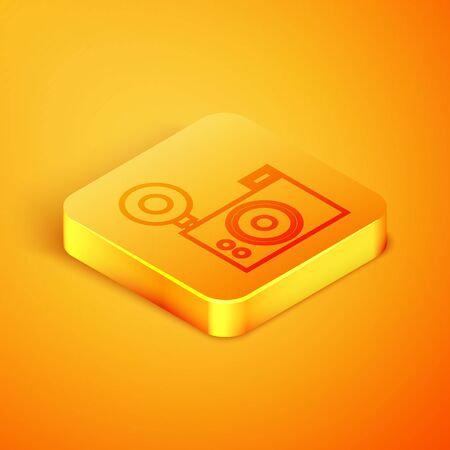 Isometric line Photo camera icon isolated on orange background. Foto camera icon. Orange square button. Vector Illustration