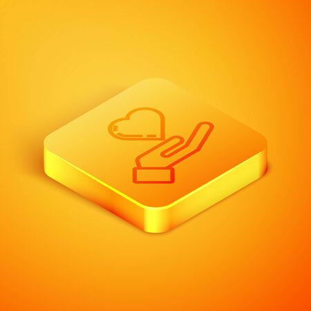 Isometric line Heart on hand icon isolated on orange background. Hand giving love symbol. Orange square button. Vector Illustration