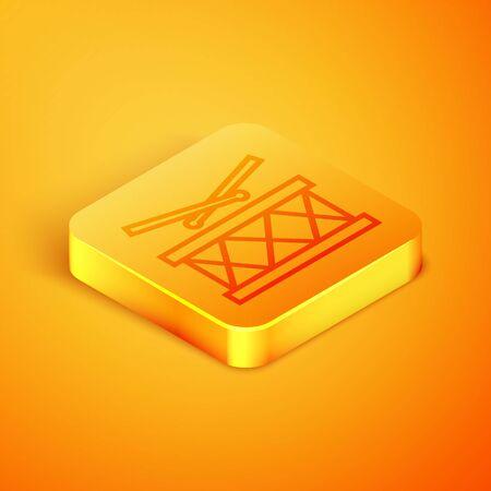 Isometric line Drum with drum sticks icon isolated on orange background. Music sign. Musical instrument symbol. Orange square button. Vector Illustration