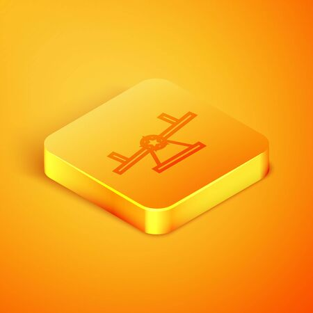 Isometric line Seesaw icon isolated on orange background. Teeter equal board. Playground symbol. Orange square button. Vector Illustration