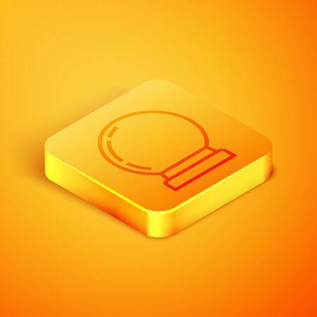 Isometric line Magic ball icon isolated on orange background. Crystal ball. Orange square button. Vector Illustration Stock fotó - 129805077