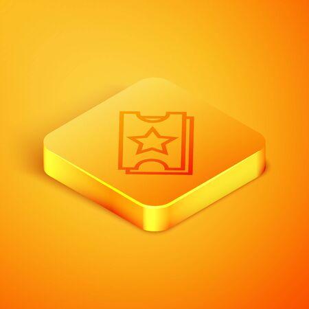 Isometric line Ticket icon isolated on orange background. Amusement park. Orange square button. Vector Illustration 일러스트