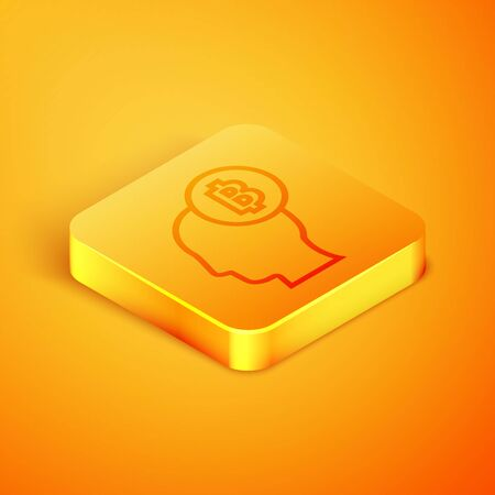 Isometric line Bitcoin think icon isolated on orange background. Cryptocurrency head. Blockchain technology, digital money market, cryptocoin wallet. Orange square button. Vector Illustration