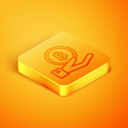 Isometric line Hand holding Bitcoin icon isolated on orange background. Blockchain technology, digital money market, cryptocoin wallet. Orange square button. Vector Illustration