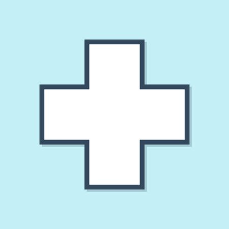 Blue line Cross hospital medical icon isolated on blue background. First aid. Diagnostics symbol. Medicine and pharmacy sign. Vector Illustration