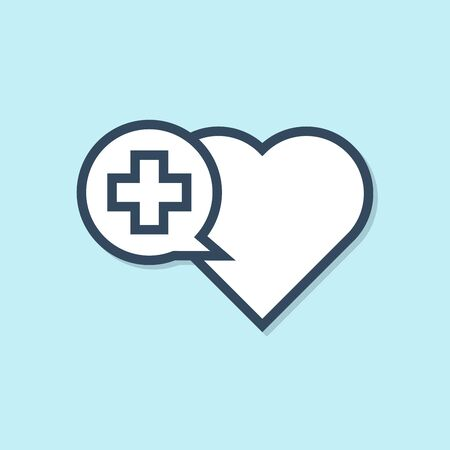 Blue line Heart with a cross icon isolated on blue background. First aid. Healthcare, medical and pharmacy sign. Vector Illustration