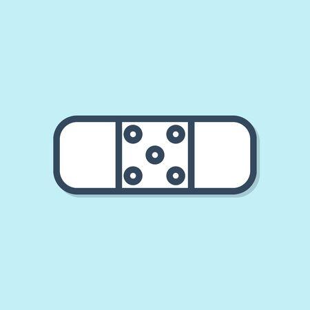 Blue line Bandage plaster icon isolated on blue background. Medical plaster, adhesive bandage, flexible fabric bandage. Vector Illustration