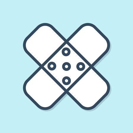 Blue line Crossed bandage plaster icon isolated on blue background. Medical plaster, adhesive bandage, flexible fabric bandage. Vector Illustration Ilustração