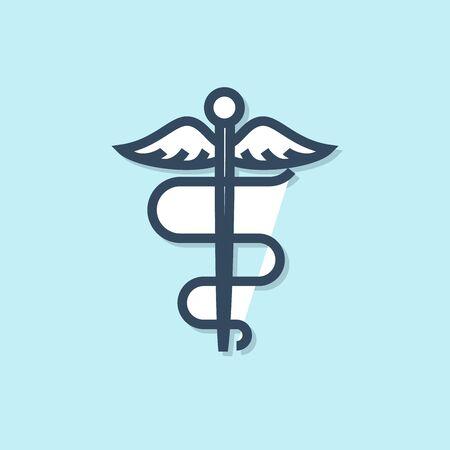 Blue line Caduceus snake medical symbol icon isolated on blue background. Medicine and health care. Emblem for drugstore or medicine, pharmacy. Vector Illustration 일러스트