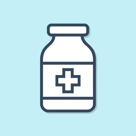Blue line Medicine bottle icon isolated on blue background. Bottle pill sign. Pharmacy design. Vector Illustration