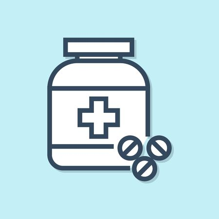 Blue line Medicine bottle and pills icon isolated on blue background. Bottle pill sign. Pharmacy design. Vector Illustration