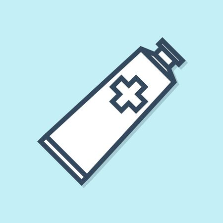 Blue line Ointment cream tube medicine icon isolated on blue background. Tube, container, toothpaste, cream sign. Vector Illustration