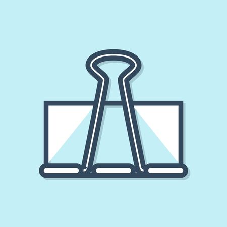 Blue line Binder clip icon isolated on blue background. Paper clip. Vector Illustration