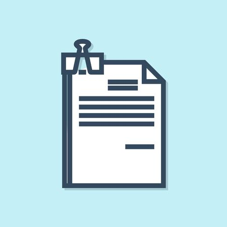 Blue line File document and binder clip icon isolated on blue background. Checklist icon. Business concept. Vector Illustration