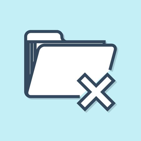Blue line Delete folder icon isolated on blue background. Folder with recycle bin. Delete or error folder. Close computer information folder. Vector Illustration