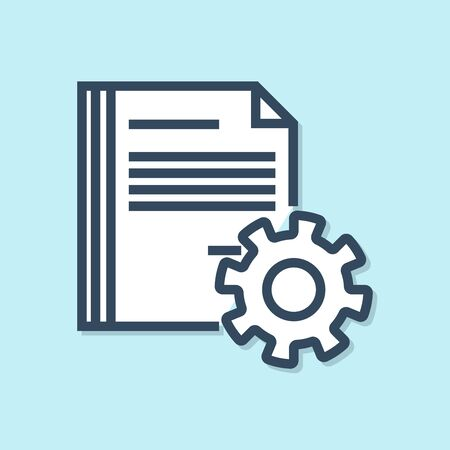Blue line Document settings with gears icon isolated on blue background. Software update, transfer protocol, teamwork tool management. Vector Illustration Ilustracja