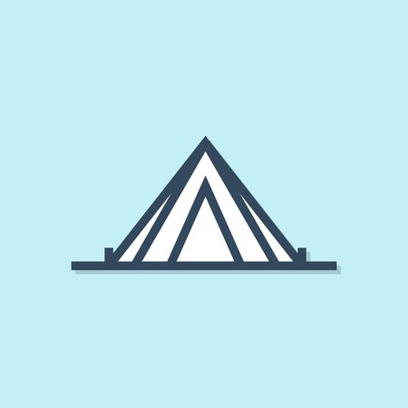 Blue line Tourist tent icon isolated on blue background. Camping symbol. Vector Illustration
