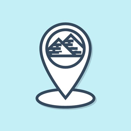 Blue line Map pointer with Egypt pyramids icon isolated on blue background. Vector Illustration
