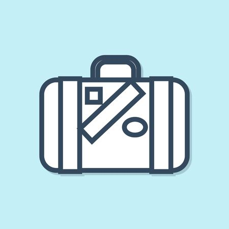 Blue line Suitcase for travel and stickers icon isolated on blue background. Traveling baggage sign. Travel luggage icon. Vector Illustration