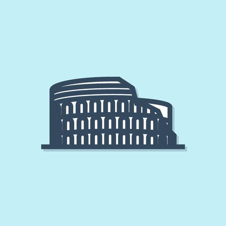 Blue line Coliseum in Rome, Italy icon isolated on blue background. Colosseum sign. Symbol of Ancient Rome, gladiator fights. Vector Illustration Иллюстрация