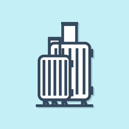 Blue line Suitcase for travel icon isolated on blue background. Traveling baggage sign. Travel luggage icon. Vector Illustration