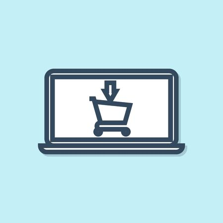 Blue line Shopping cart on screen laptop icon isolated on blue background. Concept e-commerce, e-business, online business marketing. Vector Illustration