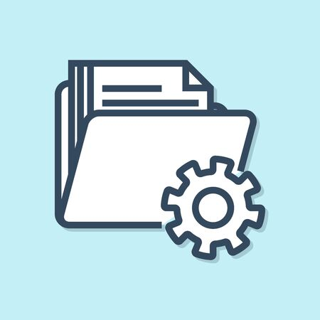 Blue line Folder settings with gears icon isolated on blue background. Software update, transfer protocol, teamwork tool management. Vector Illustration Ilustracja