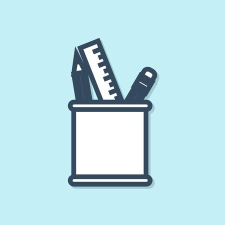 Blue line Pencil case stationery icon isolated on blue background. Pencil, pen, ruler in a glass for office. Vector Illustration 向量圖像